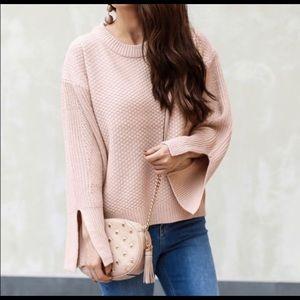 Topshop Blush Pink/Peach Split Sleeve Sweater
